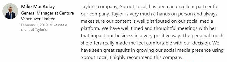 Sprout Local Digital Marketing 5 star review Surrey BC